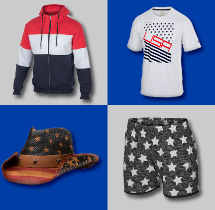 4th of July | Jacket, White T-Shirt, Cowboy hat with stars, men's swim trunks